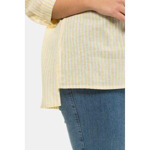 Ulla Popken Eco Stripe Linen Blend Button Front Shirt - Plus size fashion  - Female - Gold Yellow Stripe - Size: 24 26