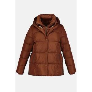 Ulla Popken Vest Inset Quilted Lined Jacket - Plus size fashion  - Female - Gold Brown - Size: 24 26