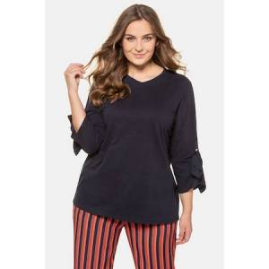 Ulla Popken Shirt, V-hals, comfortabel, lange mouwen met strikken - Grote Maten  - Female - nachtblauw - Size: 46/48