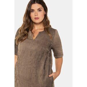 Ulla Popken Iridescent Textured Notch Neck Short Sleeve Dress - Plus size fashion  - Female - Taupe - Size: 20