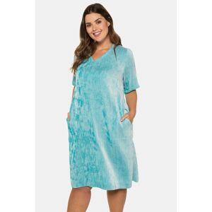 Ulla Popken Iridescent Textured V-Neck Short Sleeve Dress - Plus size fashion  - Female - Carribean Green - Size: 20