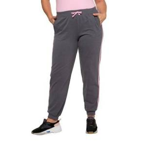 Ulla Popken Pink Stripe Elastic Waist Knit Joggers - Plus size fashion  - Female - Grey Melange - Size: 16 18