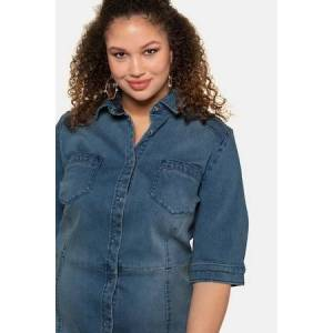 Studio Untold Ulla Popken Light Washed Snap Front Denim Dress - Plus size fashion  - Female - Light Blue - Size: 20 22