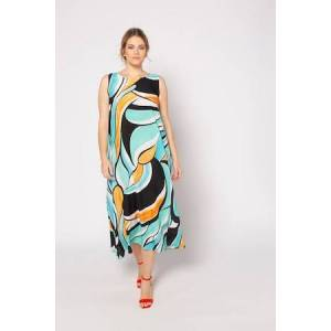Ulla Popken Distinctive Graphic Swing Hem Tank Beach Dress - Plus size fashion  - Female - Multi - Size: 20