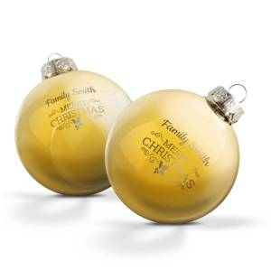 YourSurprise Personalised glass baubles - Gold (set of 2)
