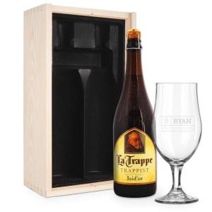 YourSurprise Beer gift set with glass - engraved - La Trappe Isid'or