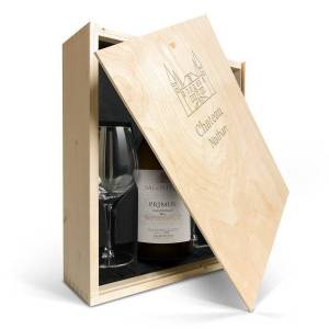 YourSurprise Wine gift set with glass - Salentein Primus Chardonnay - Engraved lid