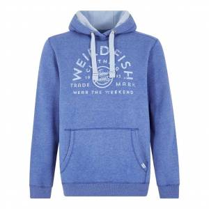 Weird Fish Bellicose Graphic Print Brushed Back Hoodie Deep Ocean Size S