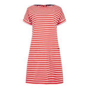Weird Fish Etta Striped Jersey Dress Radical Red Size 16