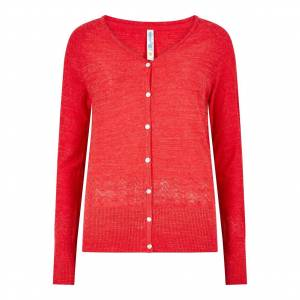 Weird Fish Curran Plain Cotton Cardigan Radical Red Size 22