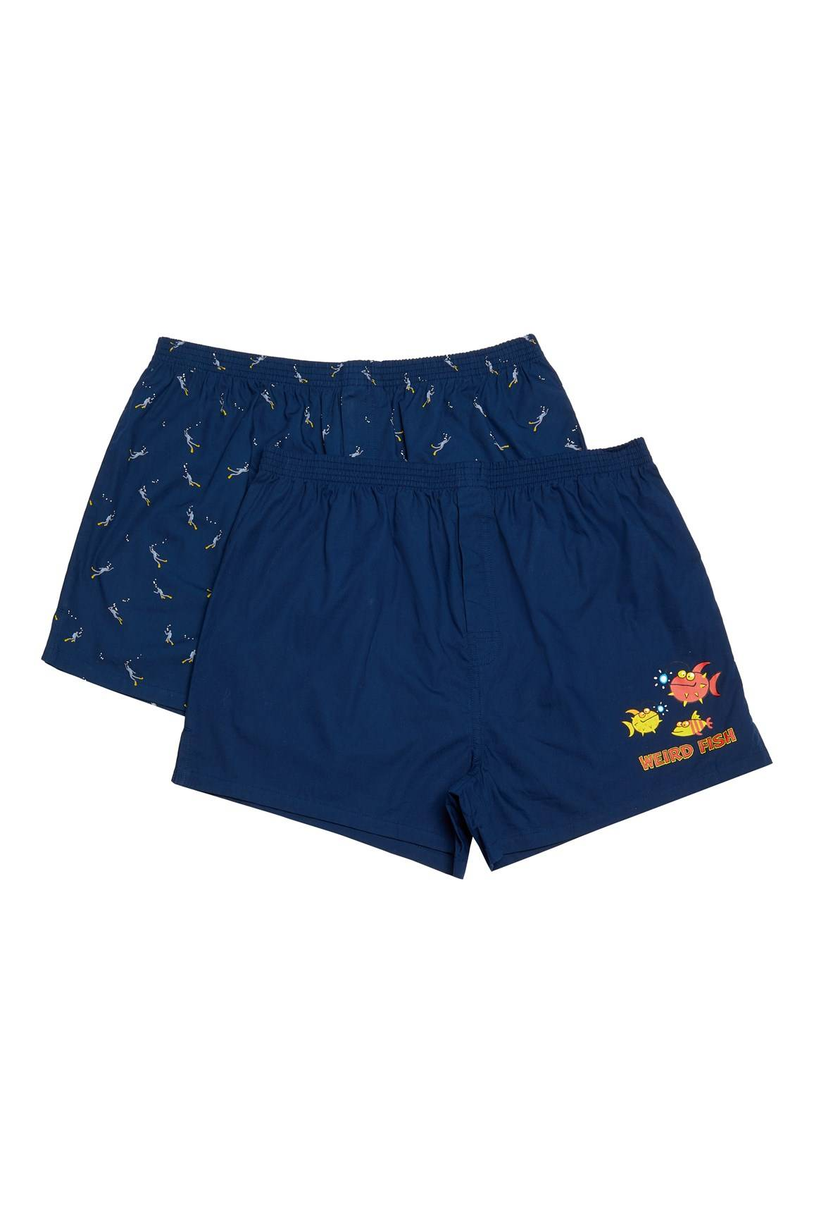Weird Fish Harley Boxer Shorts Twin Pack Navy Size XL