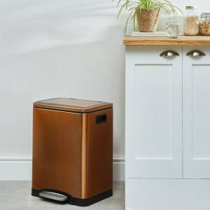 Dunelm Copper 30L Low Recycling Bin Brown  - Brown