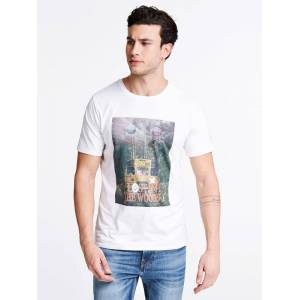 Guess Front Print T-Shirt  - White