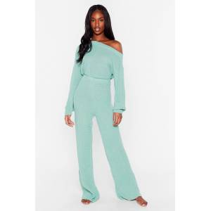 Nasty Gal Womens Leave the Rest to Us Wide-Leg Trousers Lounge Set - Green - L, Green
