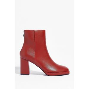 Nasty Gal Womens Faux Leather Block Heel Ankle Boots - Orange - 3, Orange