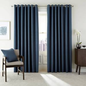 """Peacock Blue Hotel Barcelo Lined Curtains 66"""" x 90"""", Prussian Blue"""