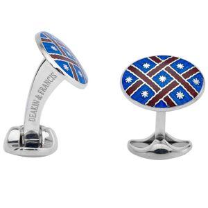 Deakin & Francis Sterling Silver Royal Blue Maroon Pattern Enamel Cufflinks