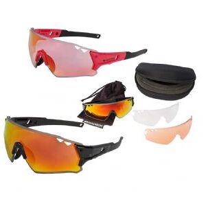 Madison Stealth Glasses 3 Lens Pack   - Gloss Rose Red/ Pink Orange Mirror Smoke Clear Lenses