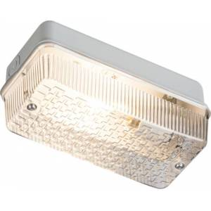 KnightsBridge 100W IP65 BC B22d Aluminium Base Clear Polycarbonate Bulkhead