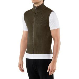 FALKE Men Waistcoat Stand-up collar, L, Green, Block colour, Virgin Wool
