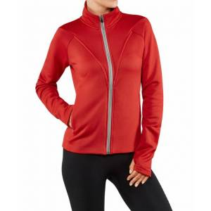 FALKE Women Zip-jacket Stand-up collar, M, Red, Block colour, Cotton