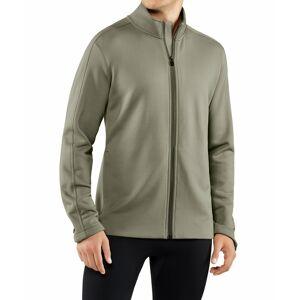 FALKE Men Zip-jacket Stand-up collar, L, Green, Block colour, Cotton