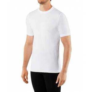 FALKE Basic Men T-Shirt Round-neck, M, White, Block colour  - White - Size: Medium