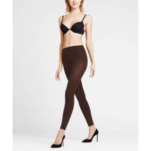 FALKE Pure Matt 100 DEN Women Leggings, M-L, Brown, Block colour