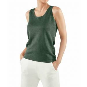 FALKE Women Top Round-neck, S, Green, Block colour, Linen  - Green - Size: Small