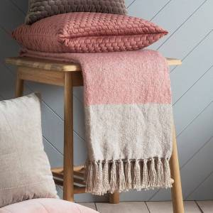 GalleryDirect Gallery Direct Tonal Mohair Throw in Blush & Silver