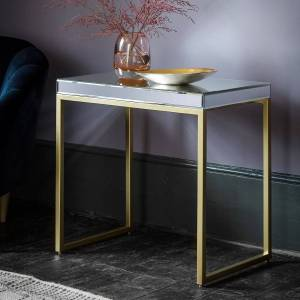 GalleryDirect Gallery Direct Pippard Mirrored Top Side Table in Champagne