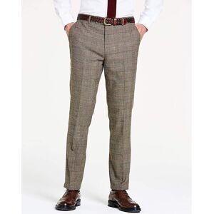 Jacamo Brown Wool Checked Slim Trousers L
