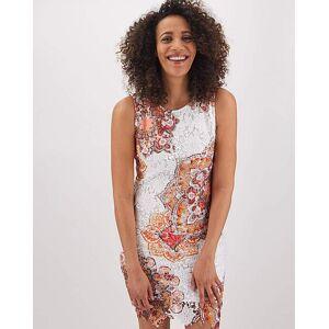 Apricot Printed Lace Shift Dress