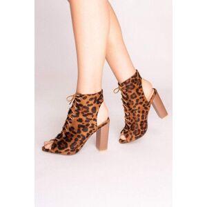 Olivia Orange Leopard Print Lace Up Ankle Boots - UK 3/ US 5/ EU 36 Orange