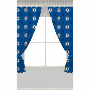 Club Branded Chelsea Repeat Crest Curtains - 137cm