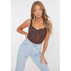 Missguided Chocolate Mesh Corset Bodysuit, Brown - female - Size: 14