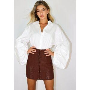 Missguided Chocolate Mesh Corset Overlay Mini Skirt, Brown - female - Size: 6
