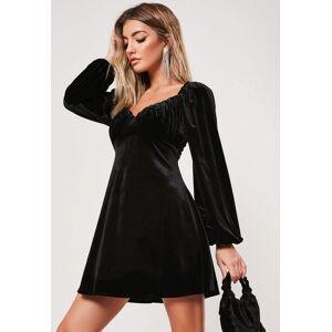 Missguided Black Velvet Milkmaid Skater Dress, Black - female - Size: 12