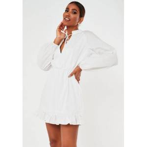 Missguided White High Neck Poplin Skater Dress, White  - female - White - Size: 10