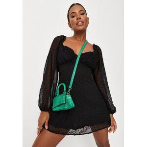 Missguided Black Dobby Long Sleeve Milkmaid Skater Dress, Black - female - Size: 12