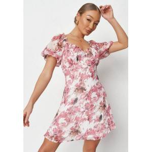 Missguided Pink Floral Print Chiffon Milkmaid Skater Dress, Pink - female - Size: 14