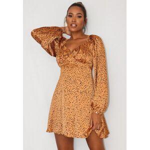 Missguided Rust Dalmatian Print Milkmaid Skater Dress, Stone  - female - Stone - Size: 12