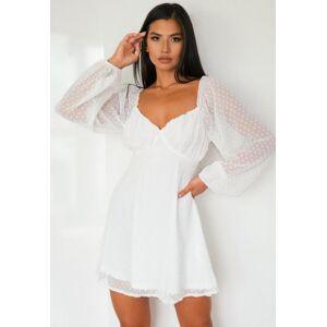 Missguided White Dobby Long Sleeve Milkmaid Skater Dress, White - female - Size: 12