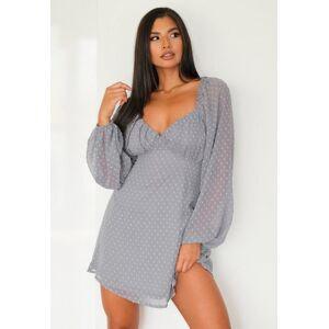 Missguided Grey Dobby Long Sleeve Milkmaid Skater Dress, Grey  - female - Grey - Size: 14