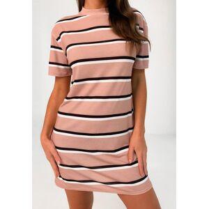 Missguided Blush Mixed Stripe Oversized T Shirt Dress, Pink  - female - Pink - Size: 6