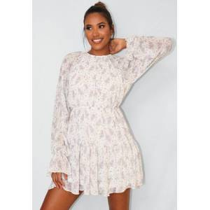Missguided Cream Floral Print Frill Hem Skater Dress, Cream - female - Size: 14