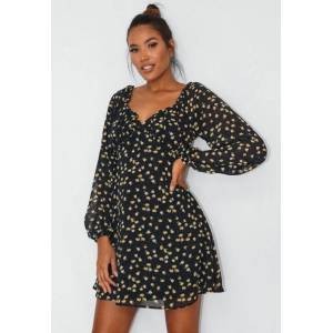 Missguided Navy Floral Print Milkmaid Skater Dress, Navy - female - Size: 10