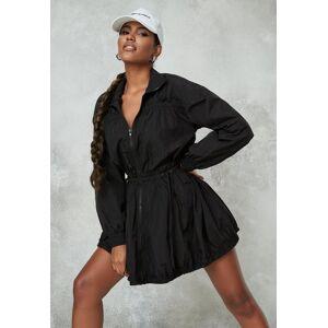 Missguided Black Zip Tie Waist Skater Dress, Black  - female - Black - Size: 10