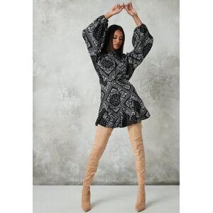 Missguided Black Bandana Print Button Neck Skater Dress, Black - female - Size: 12