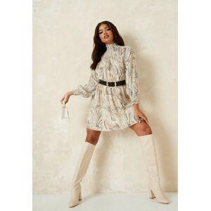 Missguided Cream Marble Print Shirred Shoulder Skater Dress, Cream  - female - Cream - Size: 12